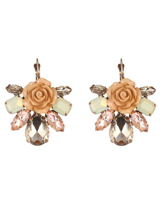 shop Enamel Faux Crystal Flower Earrings - COFFEE