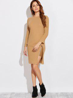 High Furcal Long Sleeve Dress - Khaki M