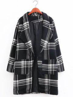 Oversized Plaid Long Wool Coat - Black S