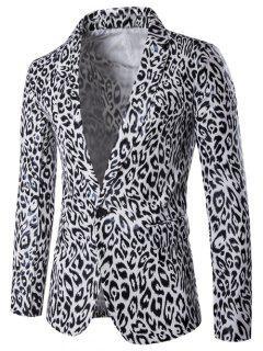 Lapel PU Leather Leopard One Button Blazer - White 2xl