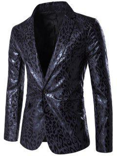 Lapel PU Leather Leopard One Button Blazer - Black 2xl