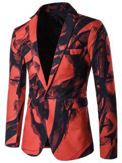 Lapel Wash Painting One Button Blazer - Red 2xl