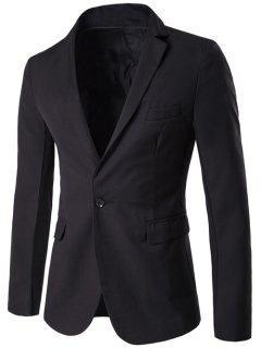 Lapel Simple One Button Blazer - Black M