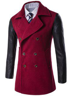 Turndown Collar Double Breasted PU-Leather Spliced Coat - Red M