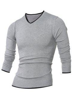 V Neck Selvedge Agrémentée Knitting Sweater - Gris Xl