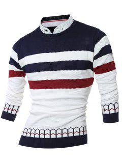 Faux Twinset Shirt Collar Color Block Stripe Spliced Knitting Sweater - Cadetblue M