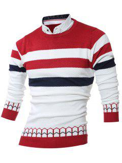 Faux Twinset Shirt Collar Color Block Stripe Spliced Knitting Sweater - Red Xl