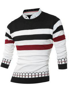 Faux Twinset Shirt Collar Color Block Stripe Spliced Knitting Sweater - Black 2xl