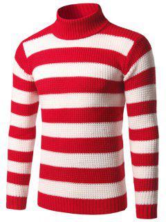Cuello Alto Suéter De Rayas Textura - Rojo M