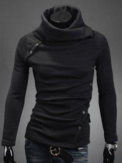 Oblique Buttons Embellished Turtle Neck Long Sleeve Sweater - Black M