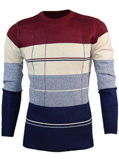 Ras Du Cou Color Block Pull Tricots - Rouge Vineux  L