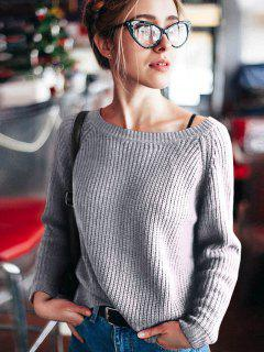 Boat Neck Loose Sweater - Gray