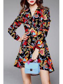 High Low Floral Surplice Dress - Floral M
