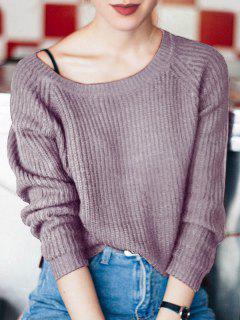 Suéter Suelto Con Cuello Barco - Púrpura