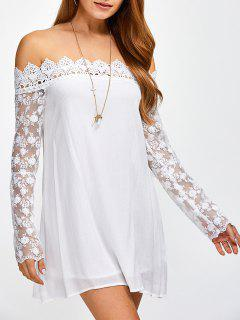 Crochet Spliced Off The Shoulder Chiffon Dress - White S