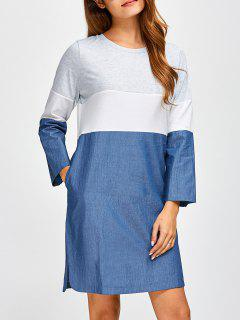 Robe En Denim Chevauché  Color Block  - Denim Bleu S