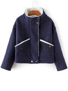 Wool Blend Borg Collar Jacket - Bleu Violet L
