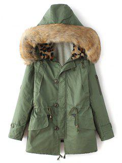 Borg Lined Faux Fur Collar Parka - Green S