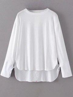 Tie Sleeve High Low Hem Tee - White S