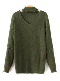 Zip Sleeve Choker Neck Sweater - Green