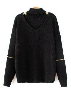 Zip Sleeve Choker Neck Sweater - Black