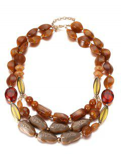 Multilayers Beads Faux Crystal Necklace - Coffee