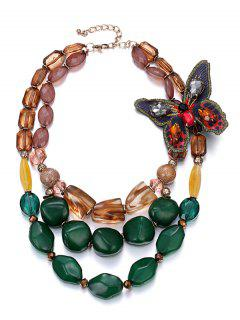 Multilayers Butterfly Faux Crystal Beads Necklace - Golden