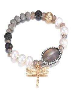 Dragonfly Faux Pearl Beaded Bracelet - Golden