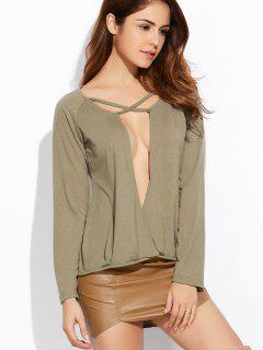 Plunging Neck Long Sleeve Crossover Top - Army Green Xl
