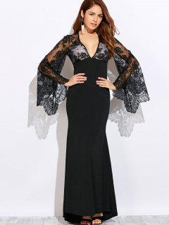 Plunge Neck Cutout Lace Panel Maxi Evening Dress - Black S