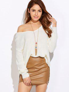 Hoch Niedriger Übergröße  Pullover Sweater - Weiß