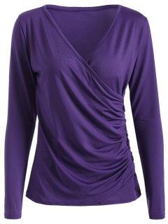 Buttons Runched Surplice T-Shirt - Purple S