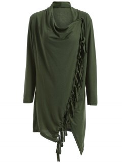Tassels Side Button Cape - Army Green S