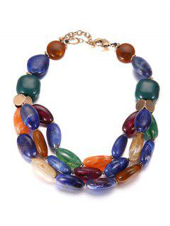 Multilayers Beads Faux Ceramic Necklace - Blue