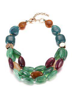Multicouches Perles Faux Collier En Céramique - Vert