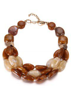 Multilayers Beads Faux Ceramic Necklace - Coffee