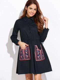 Long Sleeve Embroidered Shirt Dress Wit Pocket - Cadetblue L