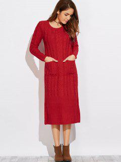 Cable Knit Back Slit Sweater Dress - Red