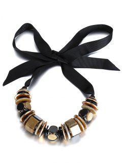 Geometric Alloy Bowknot Choker Necklace - Golden