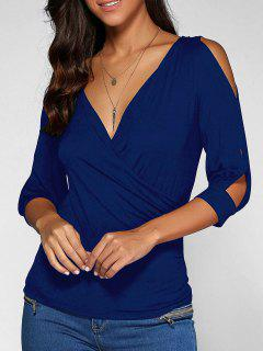 Cold Shoulder V Neck Top - Deep Blue S