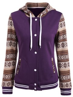 Button Up Tribal Print Panel Drawstring Hoodie - Purple M