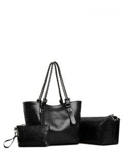 Embossing Chain PU Leather Shoulder Bag - Black