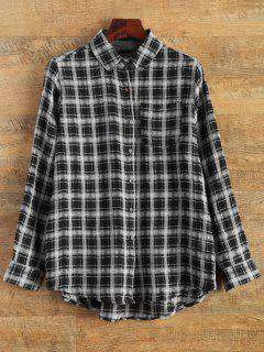 Shirt Neck Plaid Shirt - Black