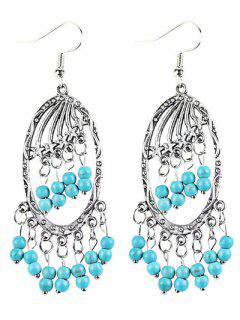 Bohemian Faux Turquoise Beads Chandelier Earrings - Silver