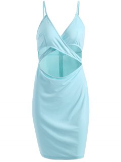 Sheath Cut Out Crossed Cami Dress - Light Blue M