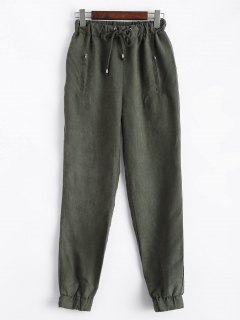 Suede Carrot JoggingPants - Green L