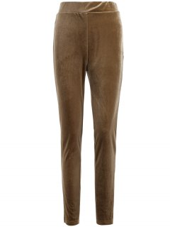 Slimming Metallic Color Leggings - Light Coffee S