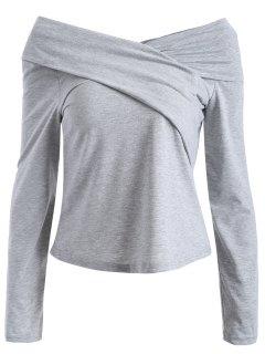 T-Shirt à Encolure De Surplis En V Et Manches Longues - Gris Xl