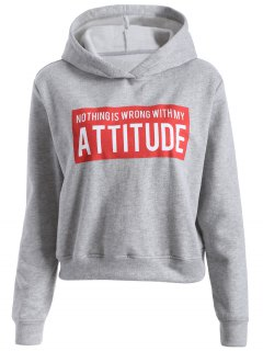 Letter Print Sports Hoodie - Gray S