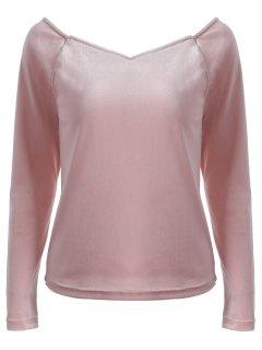 V Neck Slimming T-Shirt - Pink M